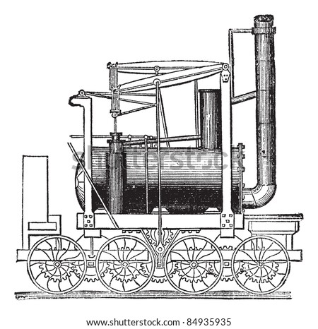 Puffing Billy Locomotive, by William Hedley, vintage engraved illustration. Trousset encyclopedia (1886 - 1891).