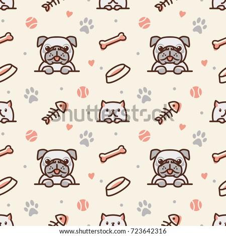 pug dog and cat with bone  fish