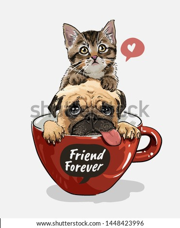 pug dog and little kitten in red coffee cup illustration
