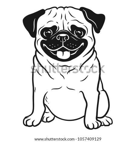 Pug dog black and white hand drawn cartoon portrait. Funny happy smiling pug, sitting and looking forward. Dogs, pets themed design element, icon, logo. Сток-фото ©