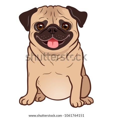 Pug dog cartoon illustration. Cute friendly fat chubby fawn sitting pug puppy, smiling with tongue out. Pets, dog lovers, animal themed design element isolated on white. Сток-фото ©