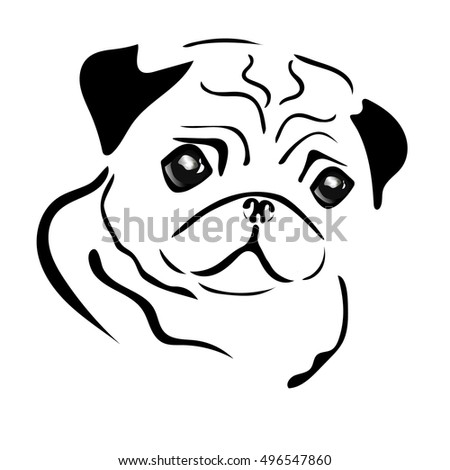 vector images illustrations and cliparts pug dog face isolated on white background cute pug vector illustration pug sketch in black and white color hqvectors com pug dog face isolated on white