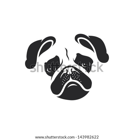 Pug dog face vector illustration