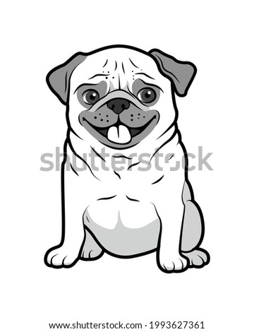 Pug dog isolated on a white background. Pug sitting and panting. Dog with short-muzzled face. Cute puppy. Domestic animal.  Photo stock ©