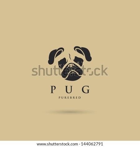 pug dog label   vector