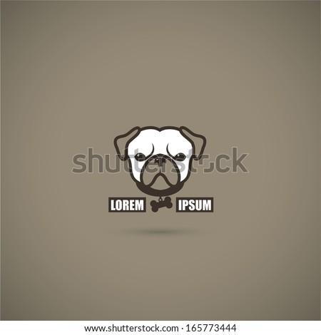 pug dog label   vector