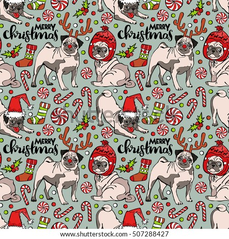 Pug dog. Merry Christmas. Seamless vector pattern (background).