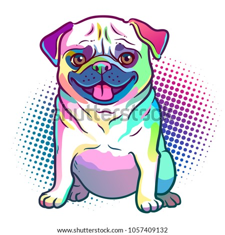 pug dog pop art style