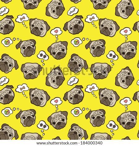 Pug Dog. Vector pattern with pug-dog.