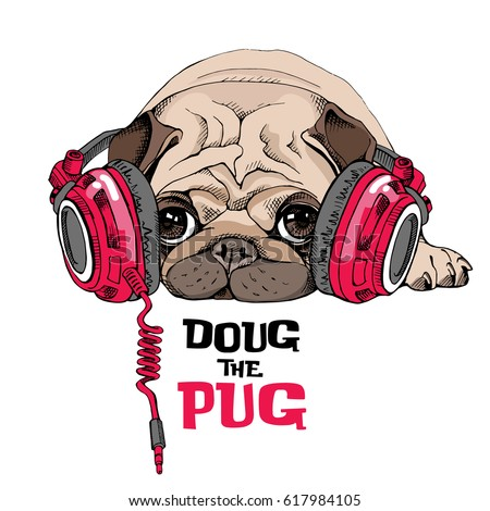 Pug Puppy in a bright red Headphones. Vector illustration.