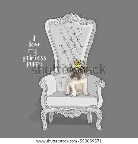 Pug Puppy with a princess crown on a throne armchair. Vector illustration.