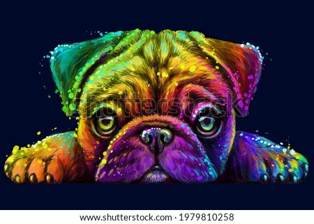 Pug. Sticker Design. Abstract, Multicolored, Neon portrait of the head of a pug breed dog on a dark blue background  the style of pop art. Digital vector graphics. Background on a separate layer. Сток-фото ©
