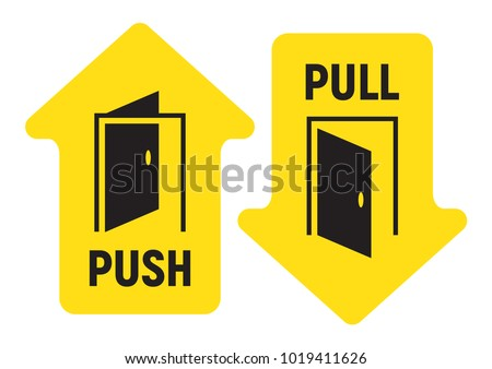 Pull and push door. Vector illustration.