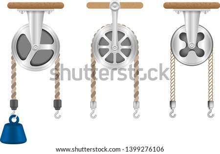Pulley types. Science, physics force experiment. Force applied by weight attached to the rope. Hook weight.