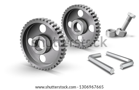Pulleys on a white background. Metallic sheaves. Realistic cogwheel. Belt drive mechanism. Timing pulley. Industrial background. Steel hex key. Two metallic allen keys.