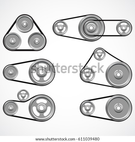 Pulleys with belts on a white background. Metallic sheaves. Vector illustration
