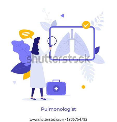 Pulmonologist, doctor or physician looking at chest radiograph or X-ray through magnifying glass. Concept of pulmonology, pneumology or respiratory medicine. Modern flat colorful vector illustration. Stock photo ©
