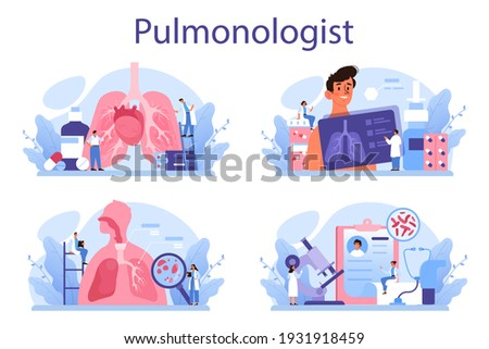 Pulmonologist set. Idea of health and medical treatment. Healthy pulmonary system. Asthma, pneumothorax treatment and diagnostic. Isolated vector illustration