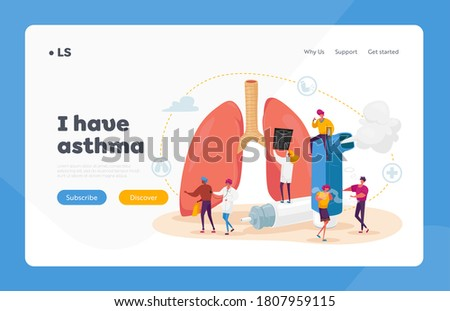 Pulmonology and Asthma Disease Landing Page Template. Tiny Characters at Huge Lungs and Inhaler, Respiratory System Examination and Treatment. Internal Organ Check. Cartoon People Vector Illustration