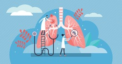 Pulmonology vector illustration. Flat tiny lungs healthcare persons concept. Abstract respiratory system examination and treatment. Internal organ inspection check for illness, disease or problems.
