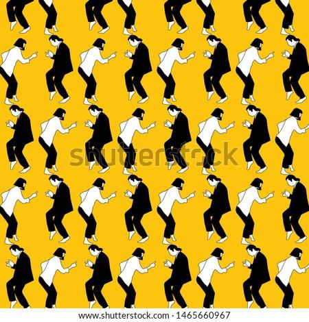 Pulp fiction dance scene movie pattern cartoon