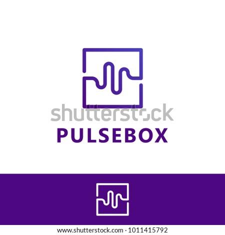 Pulse box, Wave box. Vector logo template