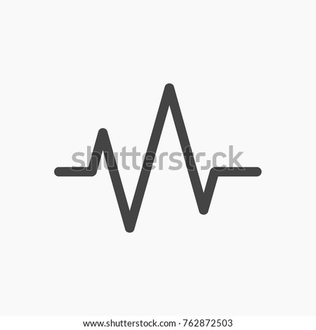 Pulse button vector icon on trendy light grey background.