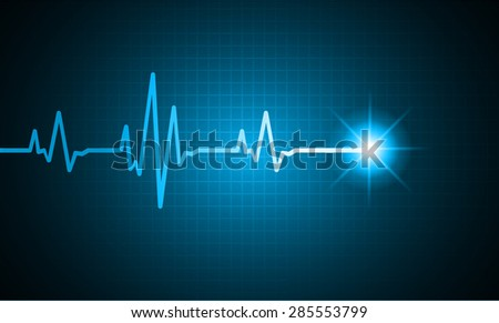 pulse heart glossy web icon on dark blue background. Light Abstract Technology background for computer graphic website and internet.
