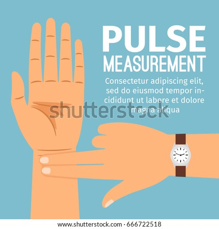 Pulse measurement vector illustration. One people hand touching another hand for pulse checking medical poster