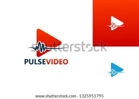 pulse video play logo template