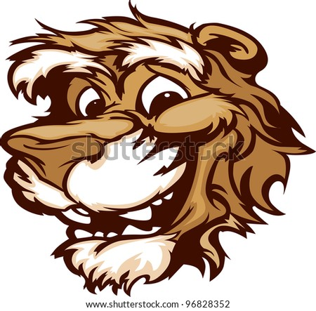 Puma Cougar Mascot with Cute Face Cartoon Vector Image - stock vector