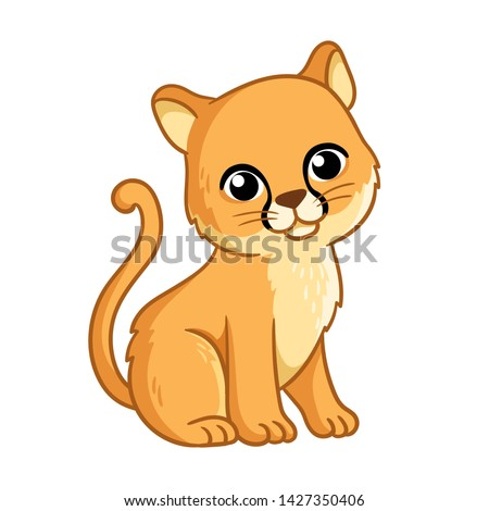 Puma in cartoon style is sitting on a white background. Vector illustration with cute wild animal.