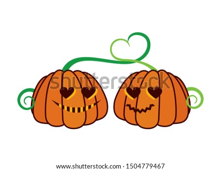 pumpkin couple in love vector