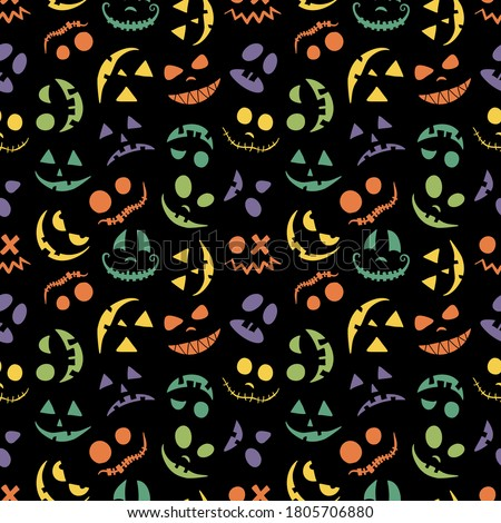 Pumpkin face, Jack o Lantern seamless pattern for Halloween background. Multi-colored eyes and smiles are kind and scary. For baby and child textiles and paper. Festive black print. Foto stock ©