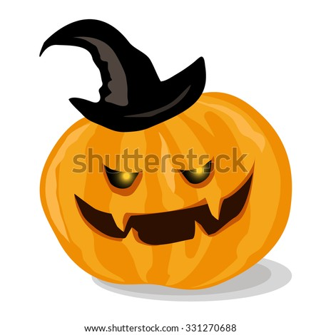 Pumpkin for Helloween. Vector isolated. Illustration