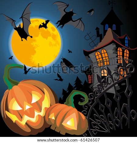 Pumpkin Halloween Card with bat, old house and moon