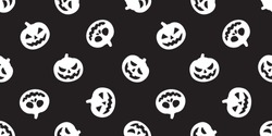 pumpkin Halloween seamless vector pattern ghost scarf isolated tile background repeat wallpaper black