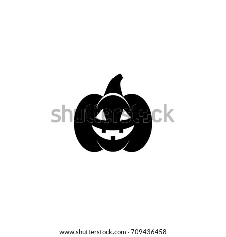 Pumpkin Icon with stem and evil face.  Halloween sticker isolated on white. Vector illustration. Autumn harvest clip art. Jack O Lantern.  Black and white