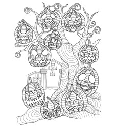 Pumpkin in tomb Halloween. Hand drawn sketch illustration for adult coloring book. Zentangle stylized cartoon isolated on white background.
