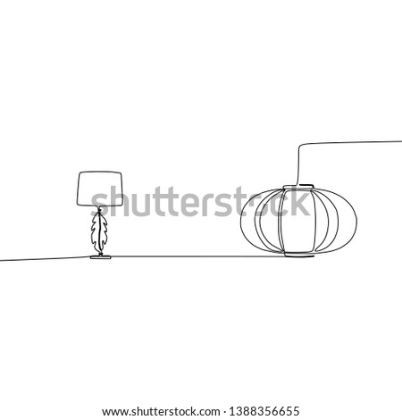 pumpkin lamp and cute lamp continuous and one line lamps Vector illustration