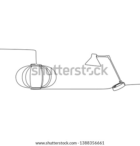 pumpkin lamp and table lamp continuous and one line lamps Vector illustration