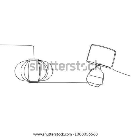 pumpkin lamp and traditional lamp one line table lamps with lampshades. Vector illustration. Set of isolated black contoured objects on white background