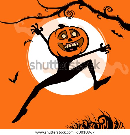 Pumpkin Man jumping up in Halloween night.
