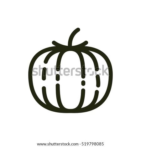 Pumpkin Minimalistic Flat Line Outline Stroke Icon Pictogram Symbol #519798085