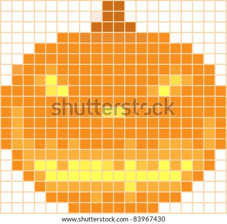 Pumpkin mosaic on a white background by a holiday halloween