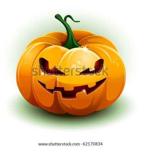 Pumpkin on white background. Vector illustration. All elements are layered separately in vector file.