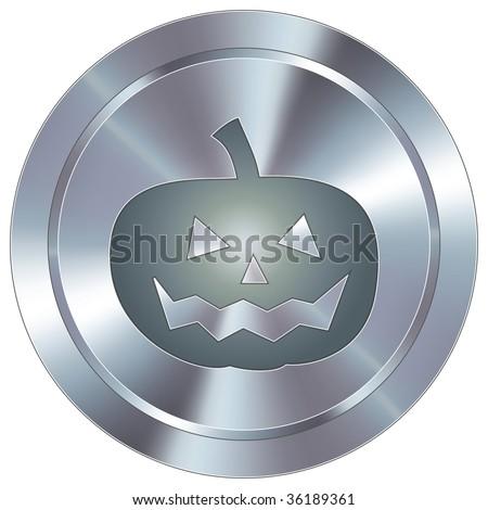 Pumpkin or halloween icon on round stainless steel modern industrial button