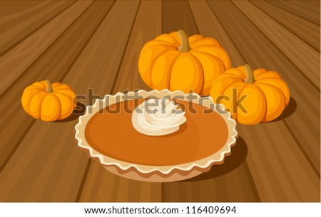 Pumpkin pie and orange pumpkins. Vector illustration.