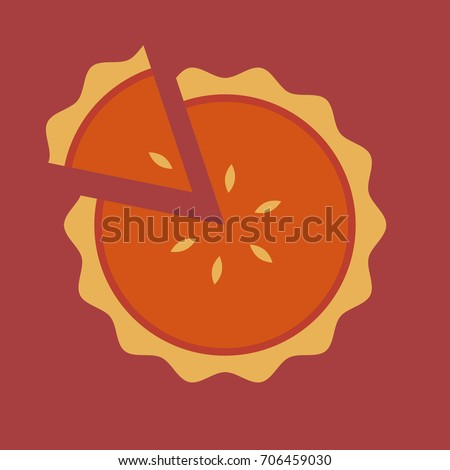 pumpkin pie flat icon vector