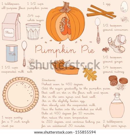 Pumpkin pie recipe. Thanksgiving Day card.